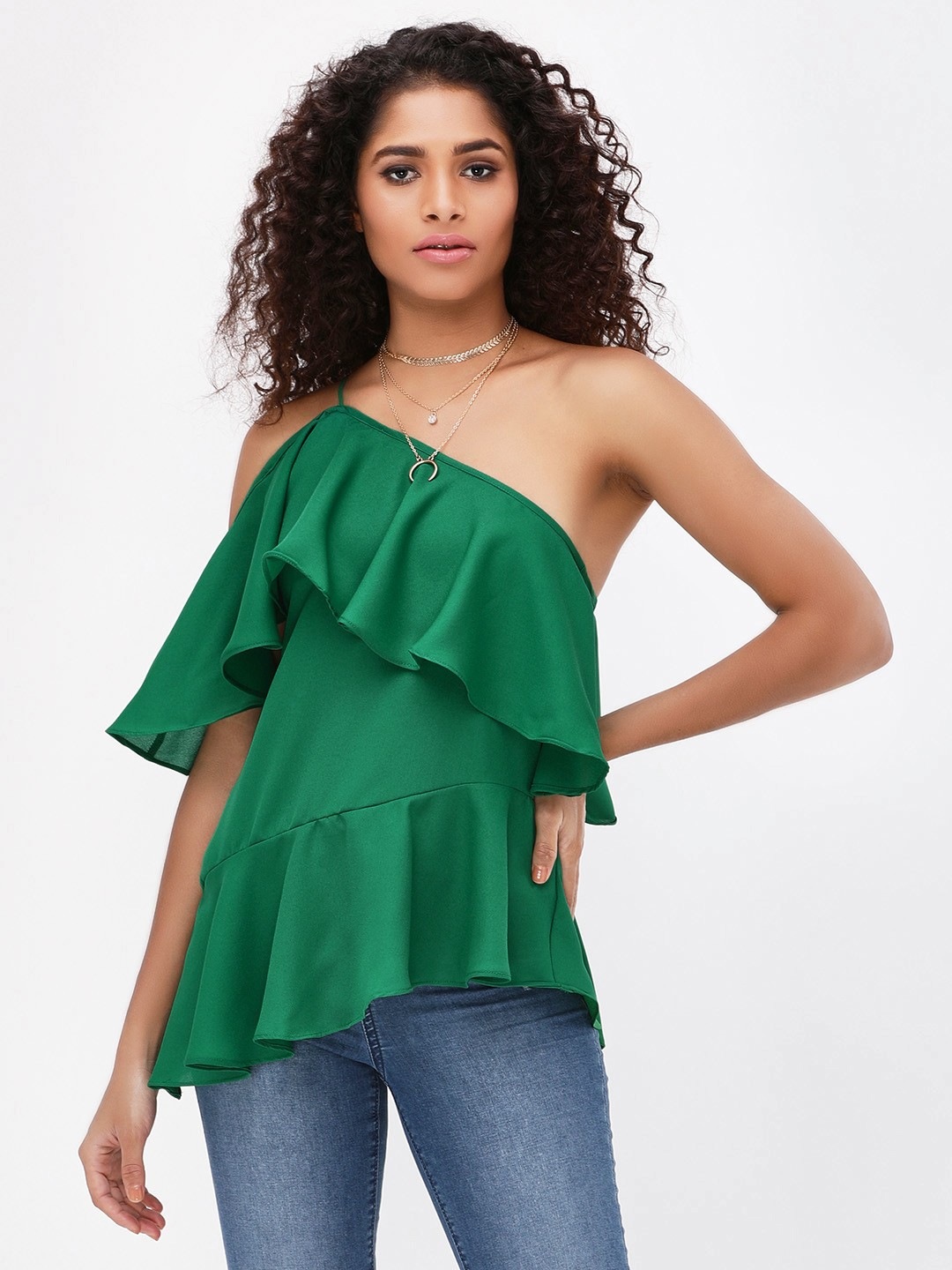 Noble Faith Green One Shoulder Ruffle Top 1