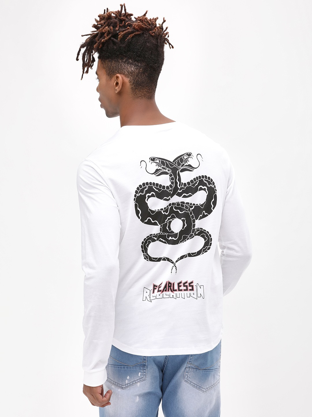 KOOVS White Fearless Back Print T-Shirt 1