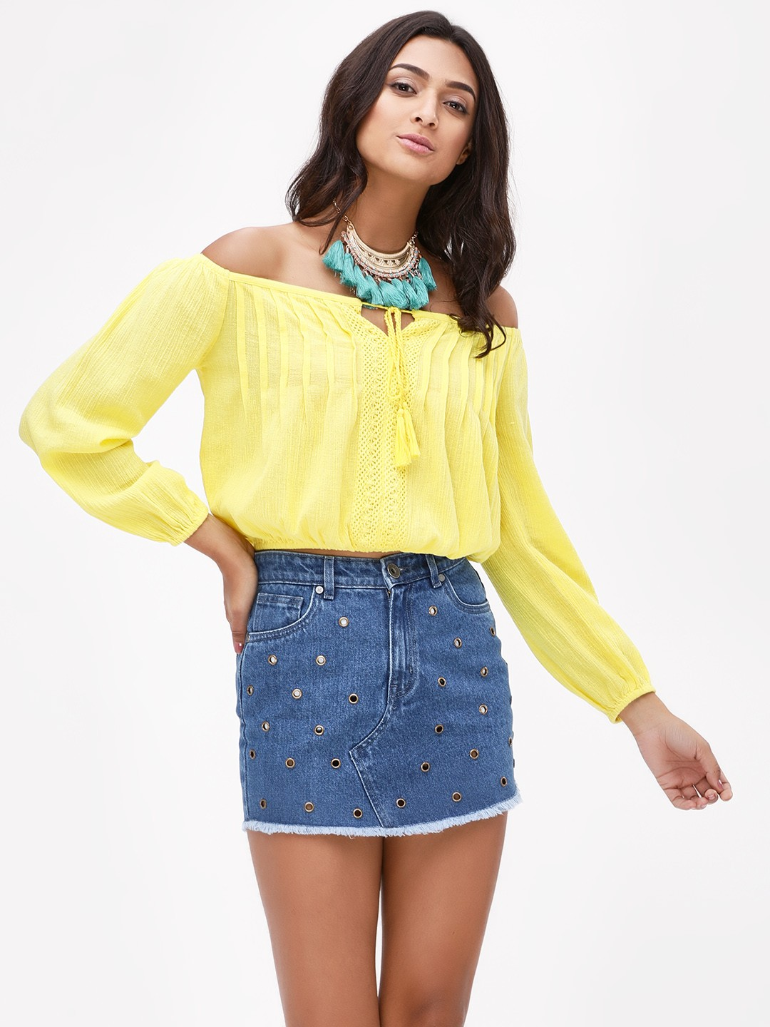 KOOVS Yellow Cropped Off Shoulder Top 1