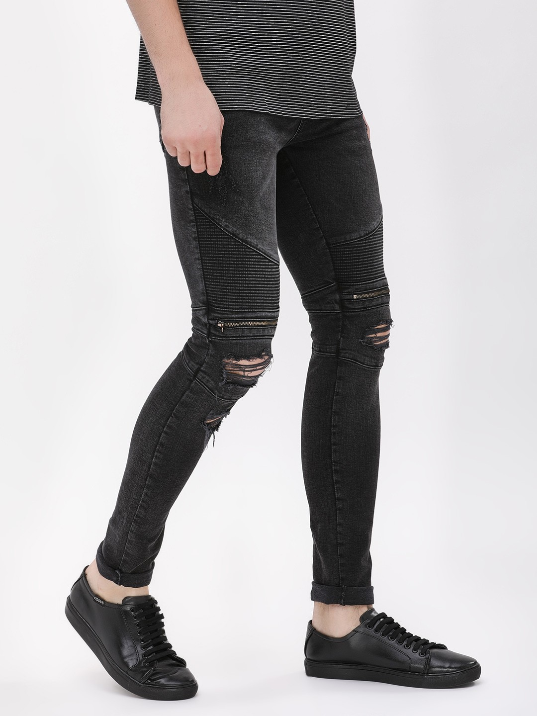 get online hot-selling cheap superior quality Buy New Look Black Super Skinny Biker Jeans With Knee Zipper ...
