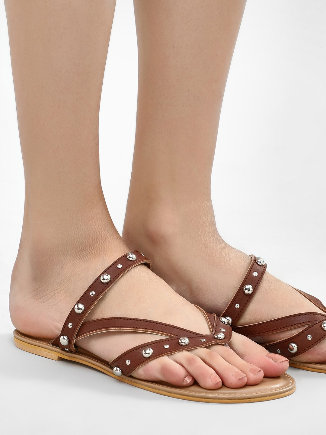 KOOVS Tan Multi Strap Studded Sandals 1