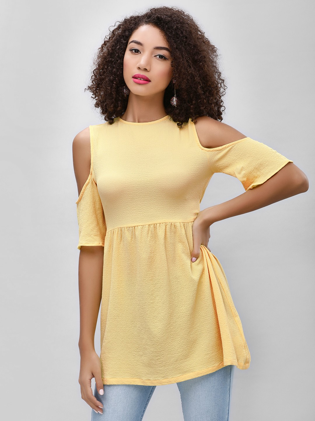 KOOVS Yellow Cold Shoulder Mini Dress 1