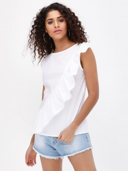 Origami Lily Front Ruffle Detail Sleeveless Top