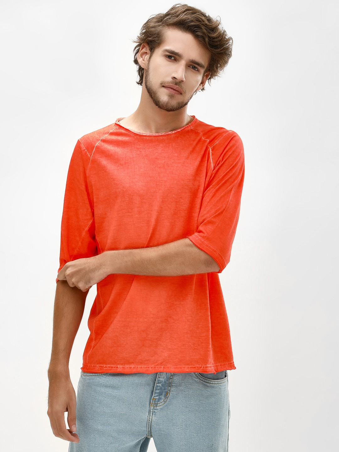 Blue Saint Orange T-Shirt With Raw Edges 1