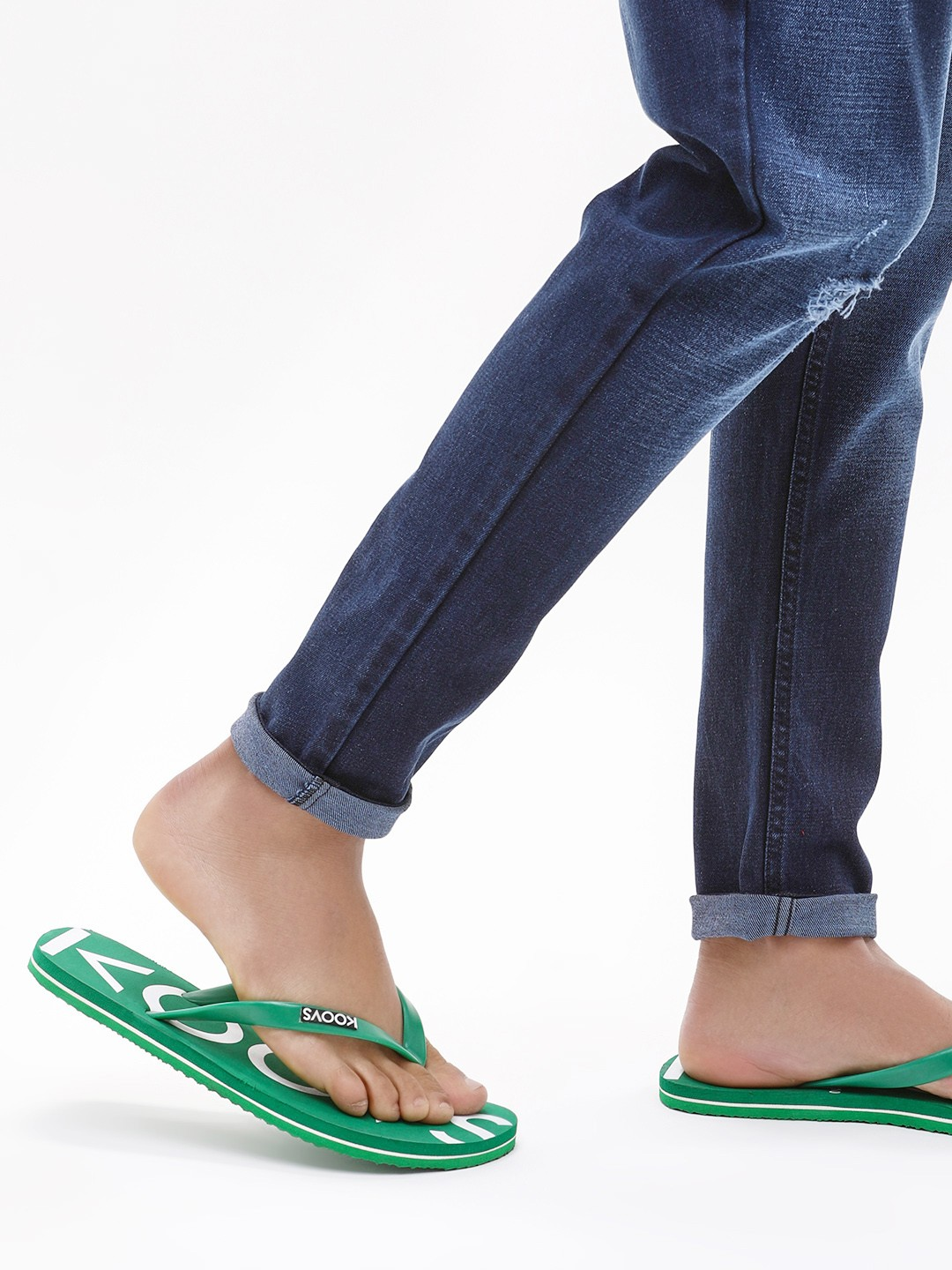 KOOVS Green Printed Footbed Flip-Flops 1