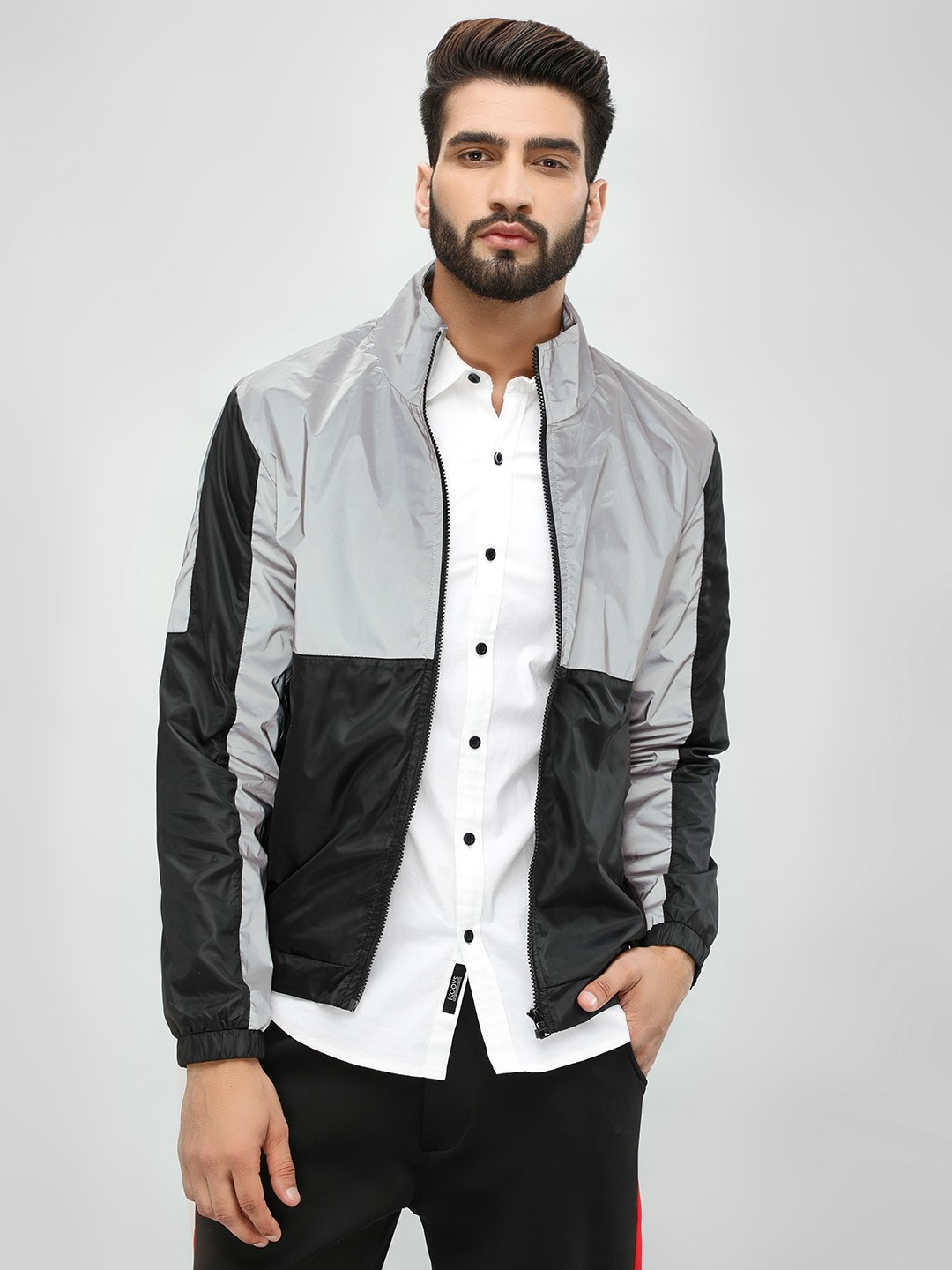 KOOVS Multi Colour-Block Reflective Windbreaker Jacket 1