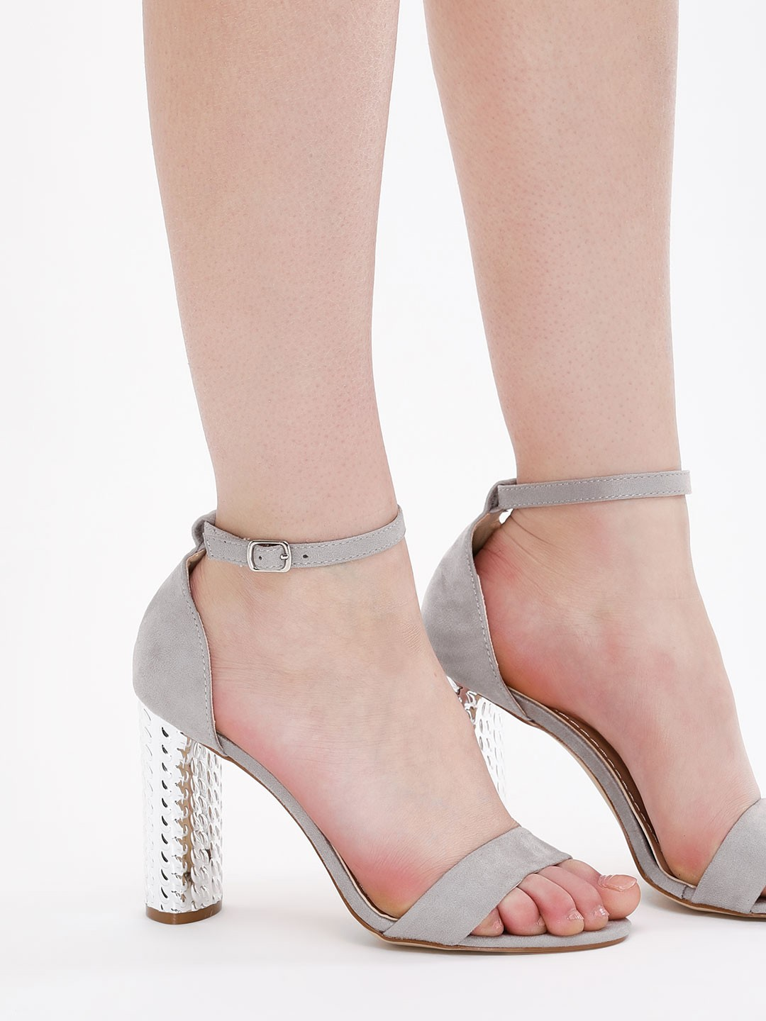 No Doubt Grey Barely There Heeled Sandals 1
