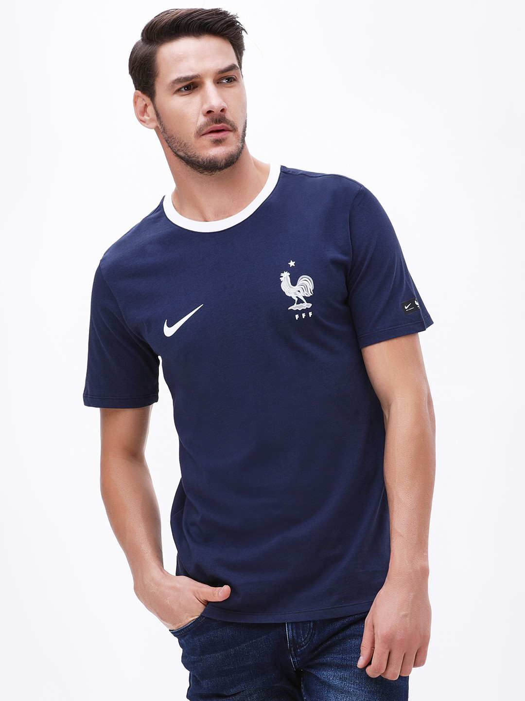 taille 40 d689e 852a2 Buy Nike Blue France Crest T-Shirt for Men Online in India