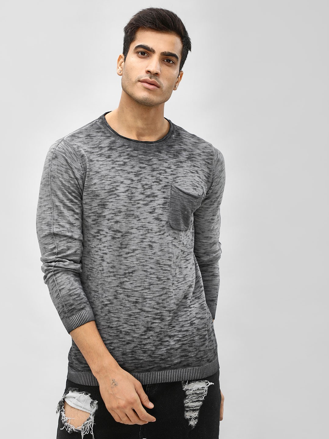 Akiva Grey Washed Long Sleeve Pullover 1