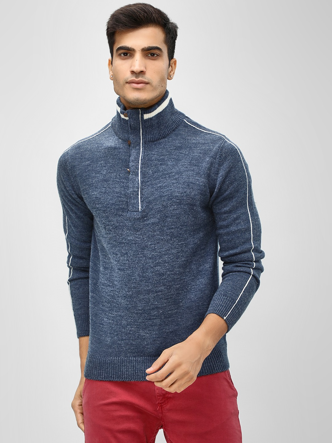 Akiva Blue High Neck Long Sleeve Pullover 1