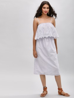 Only Broderie Denim Midi Dress
