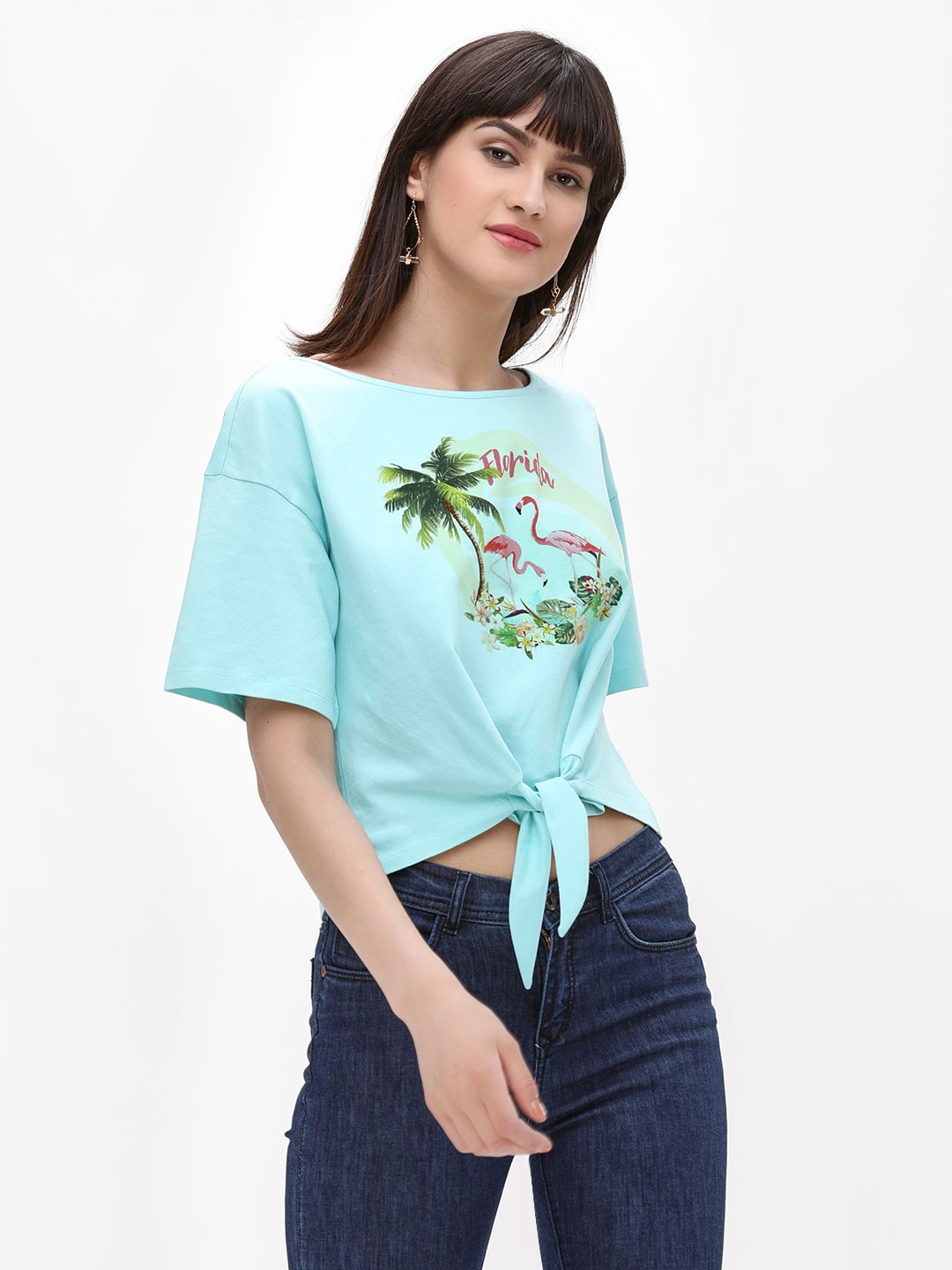 Cover Story Blue Tropical Printed Knot T-Shirt 1