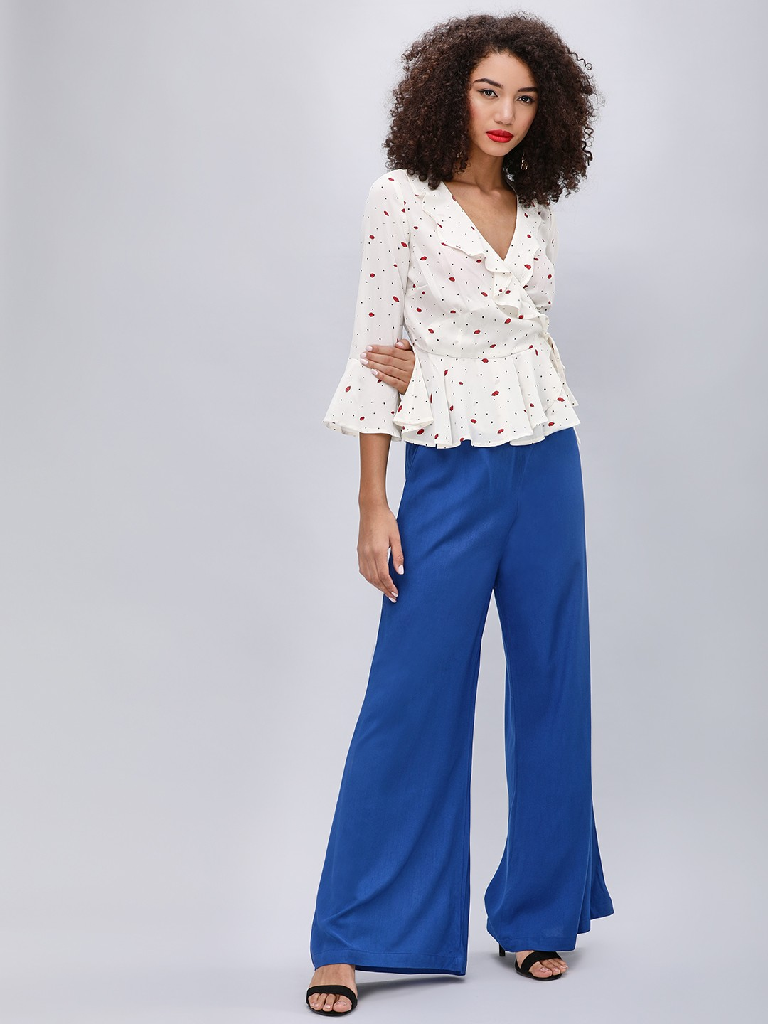 KOOVS Royal Blue Flared Leg Palazzo Pants 1