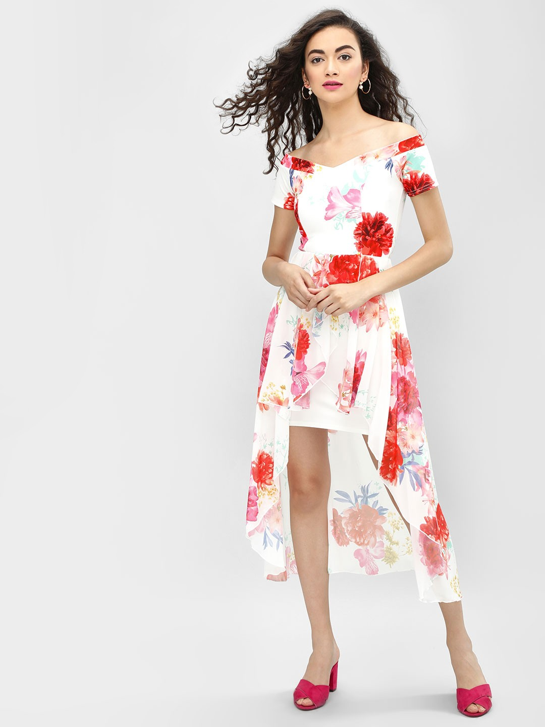 Quiz Cream Floral Printed Off-Shoulder Dress 1