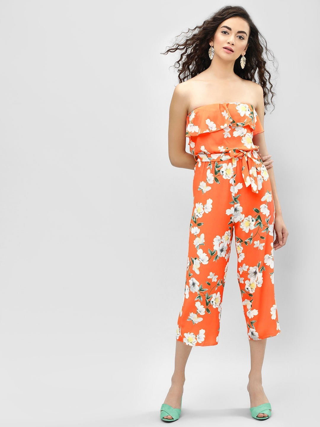 Quiz Orange Floral Bandeau Culotte Jumpsuit 1
