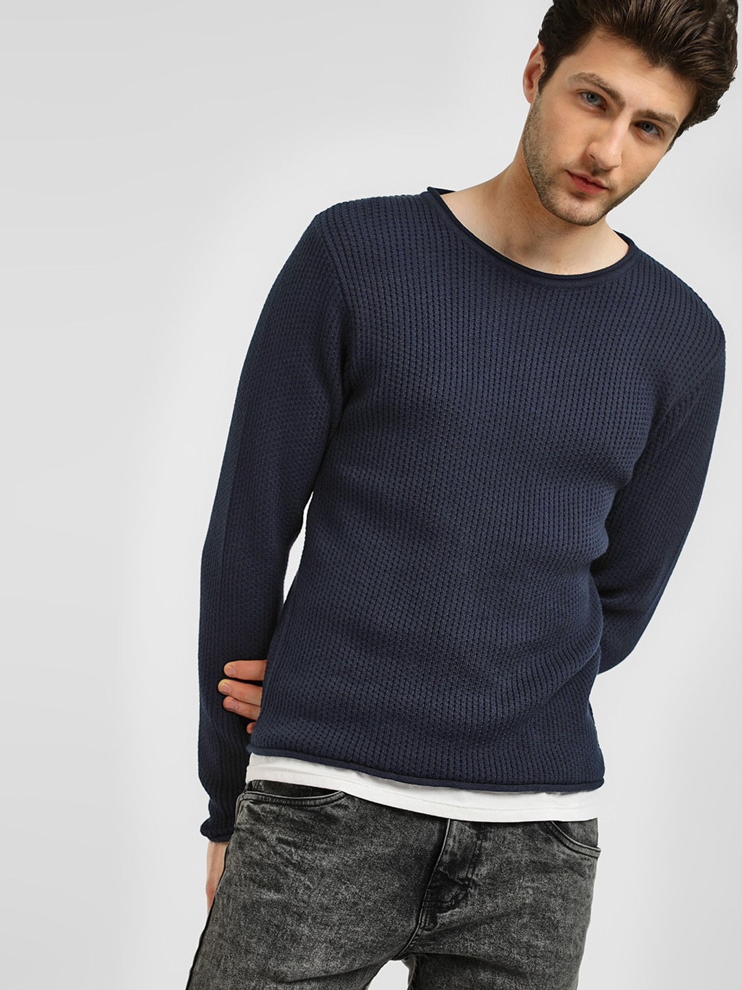 KOOVS Blue Mock Hem Knit Jumper 1