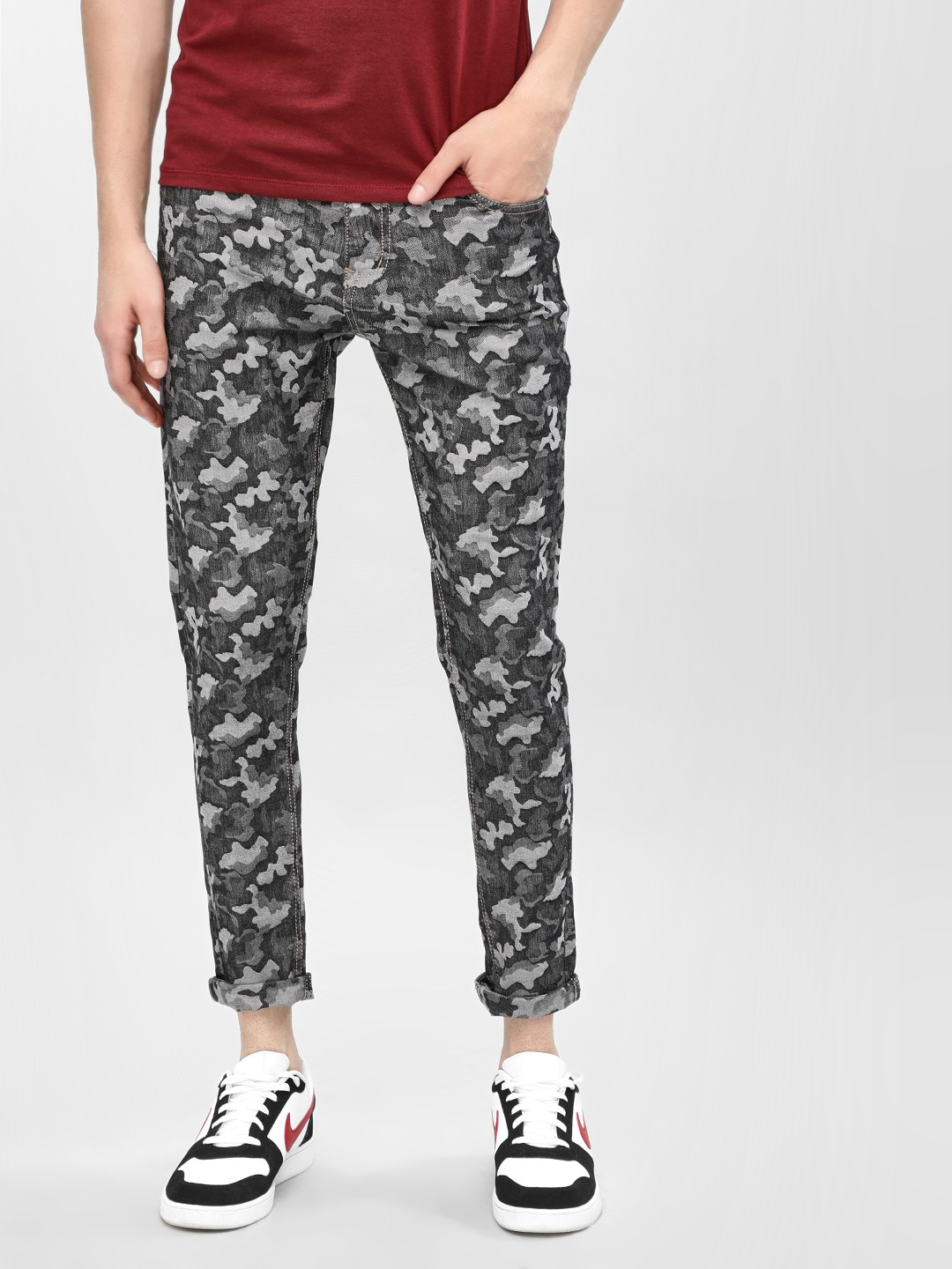 K Denim Multi KOOVS  Camo Printed Slim Jeans 1