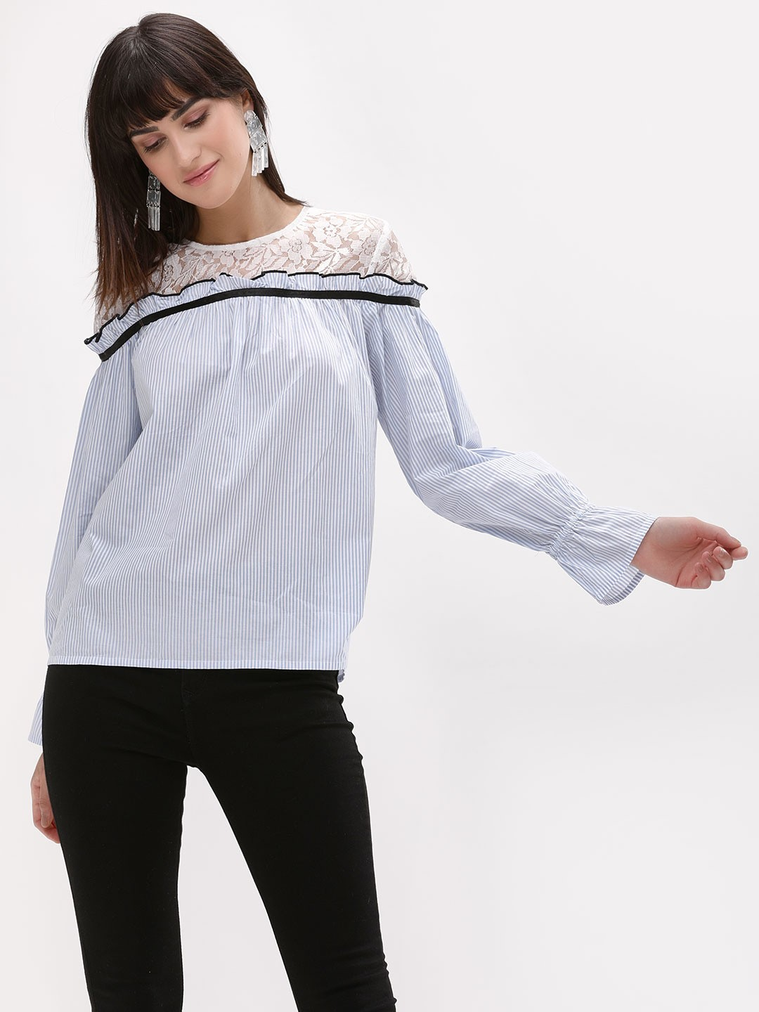 Origami Lily STRIPE Striped Top With Lace Detail 1