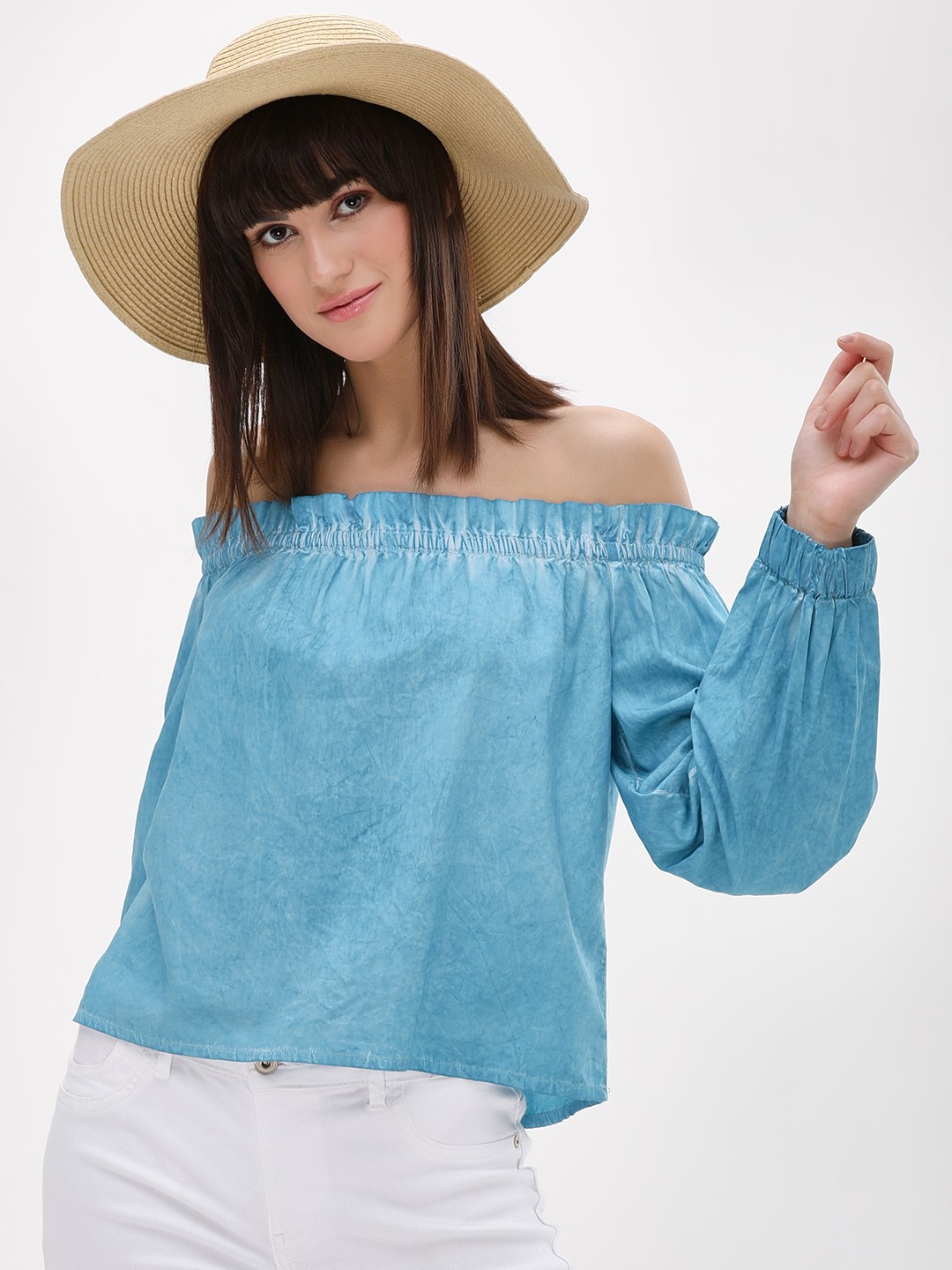 Origami Lily Blue Stone Washed Bardot Top 1