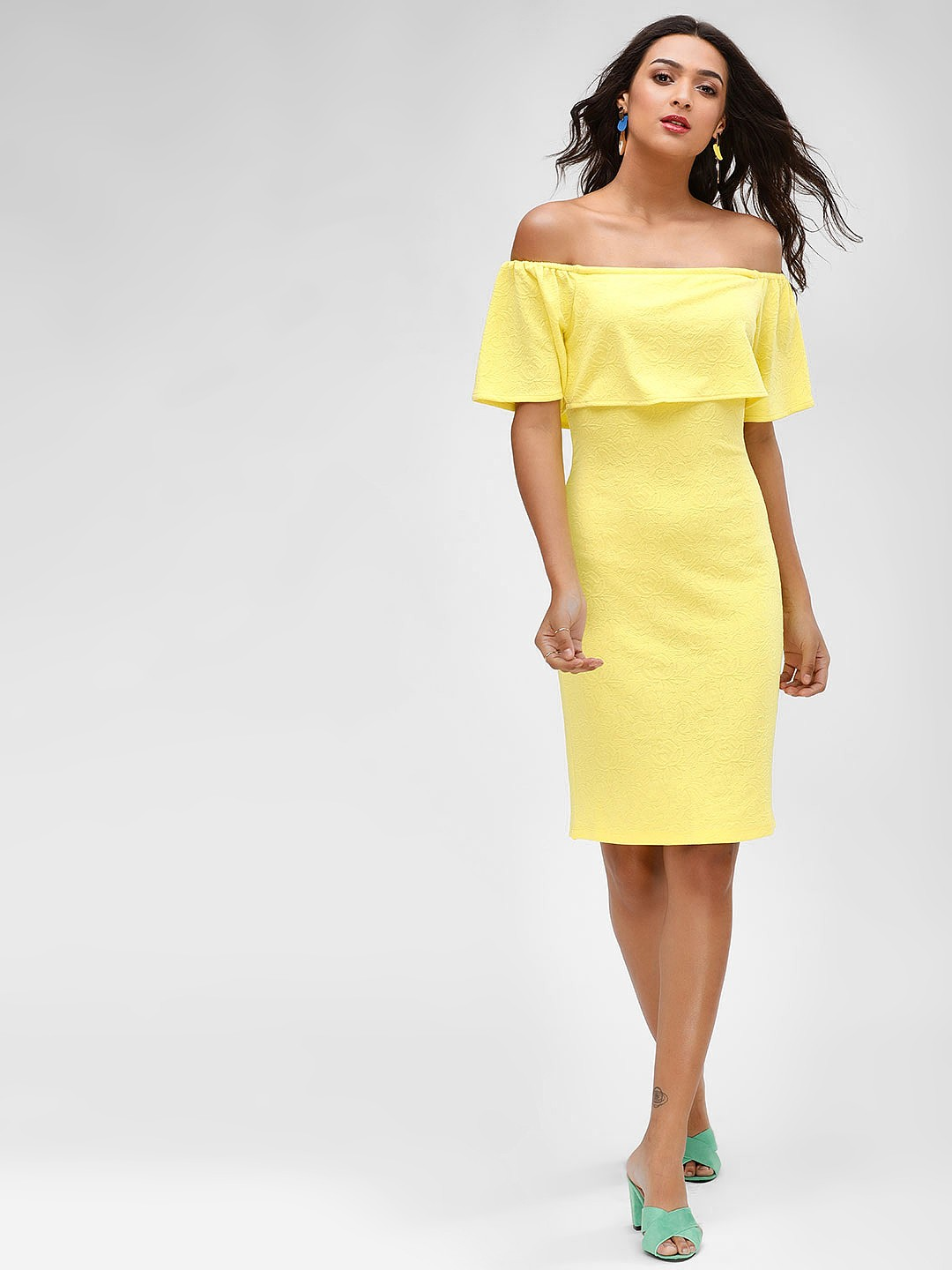 KOOVS Yellow Off Shoulder Jacquard Dress 1