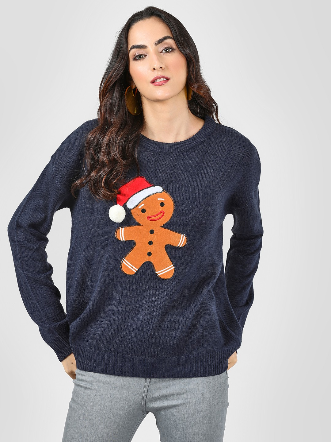 Brave Soul Navy Gingerbread Man Applique Jumper 1
