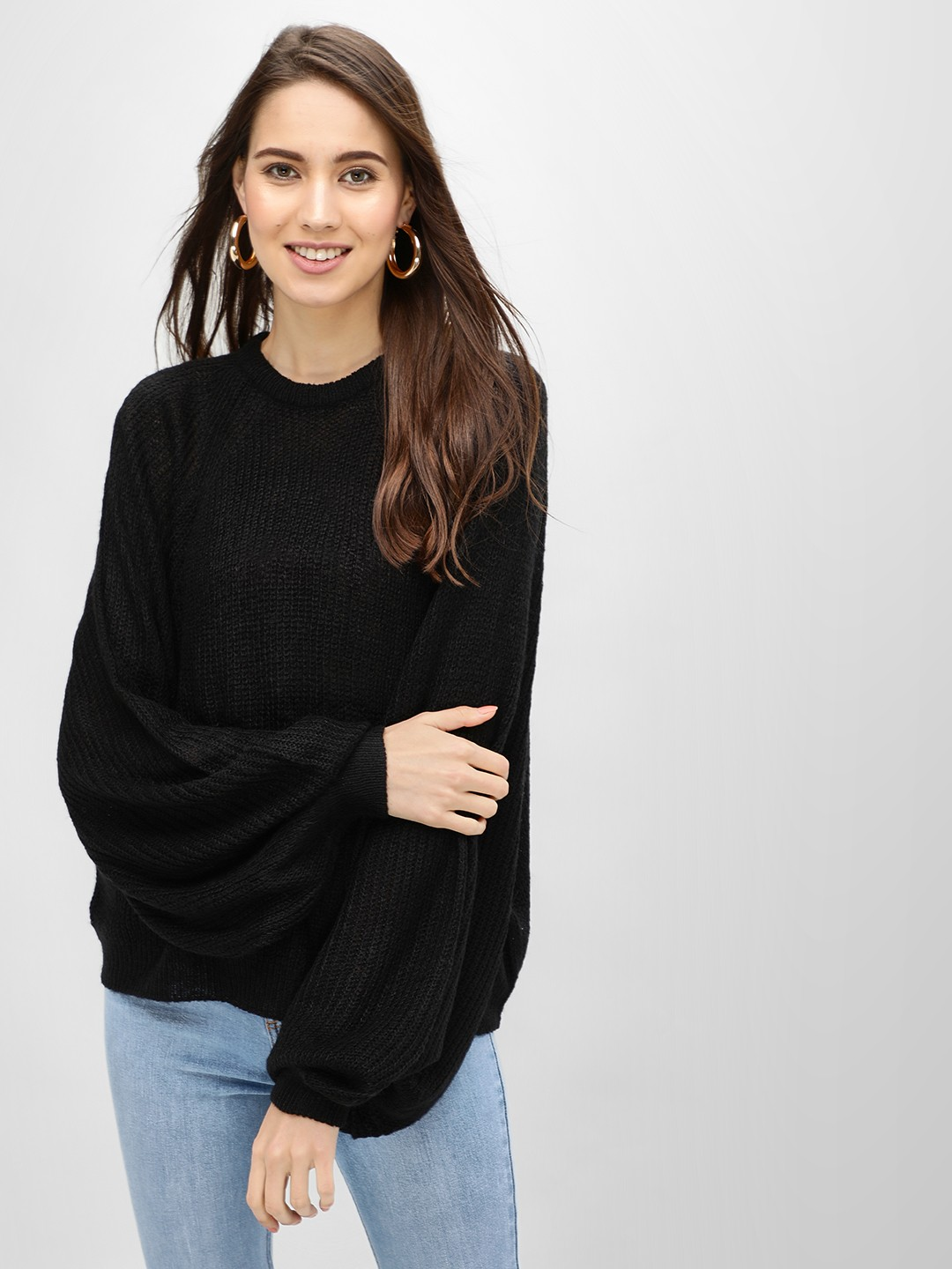 Brave Soul Black Pullover With Exaggerated Balloon Sleeves 1