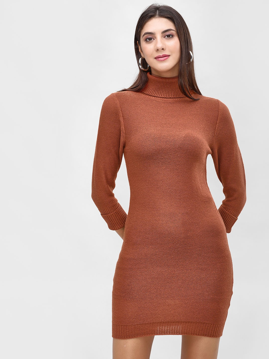 Brave Soul ARABIAN SPICE Roll Neck Bodycon Dress 1