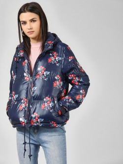 Brave Soul Floral Print Hooded Jacket