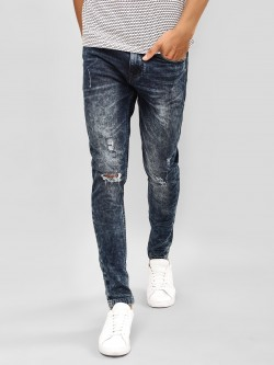 K Denim KOOVS Acid Wash Distressed Skinny Jeans