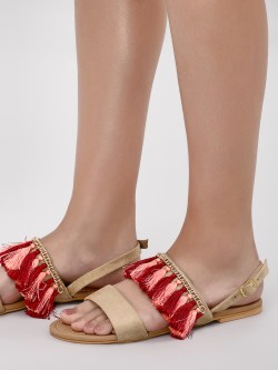 CAi Tassel Detail Flat Sandals