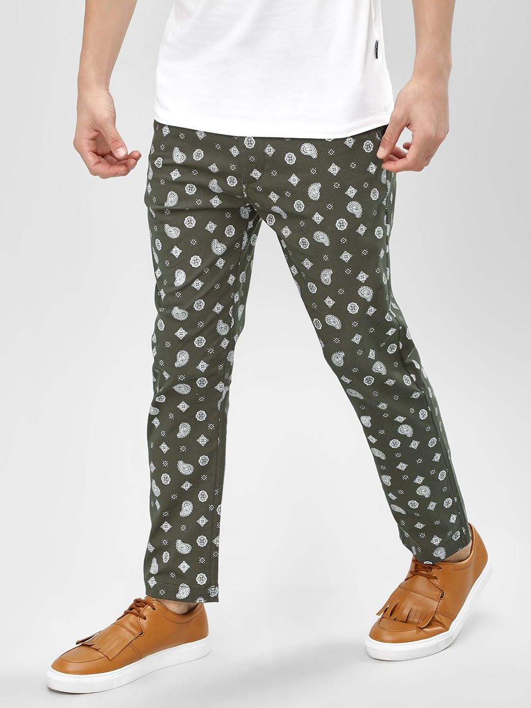 KOOVS Green Paisley Printed Trousers 1