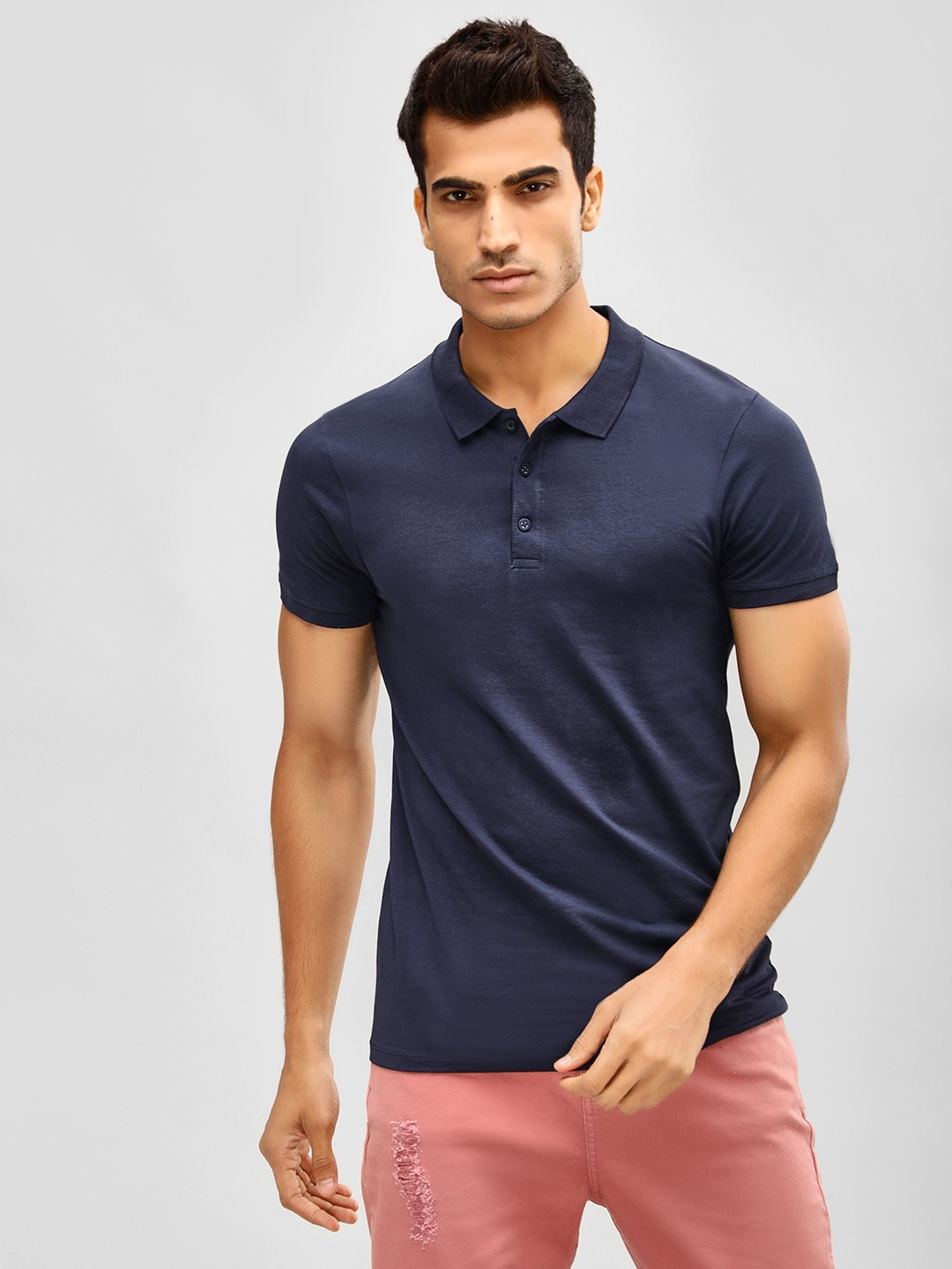 KOOVS Dark Blue Muscle Fit Jersey Polo Shirt 1