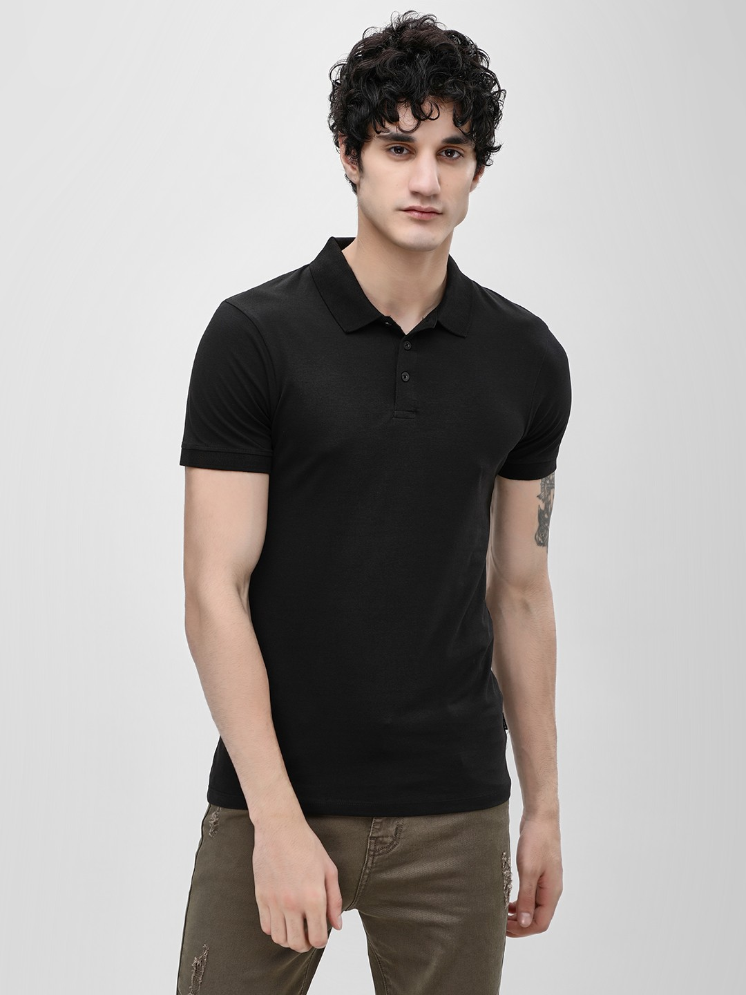 KOOVS Black Muscle Fit Jersey Polo Shirt 1