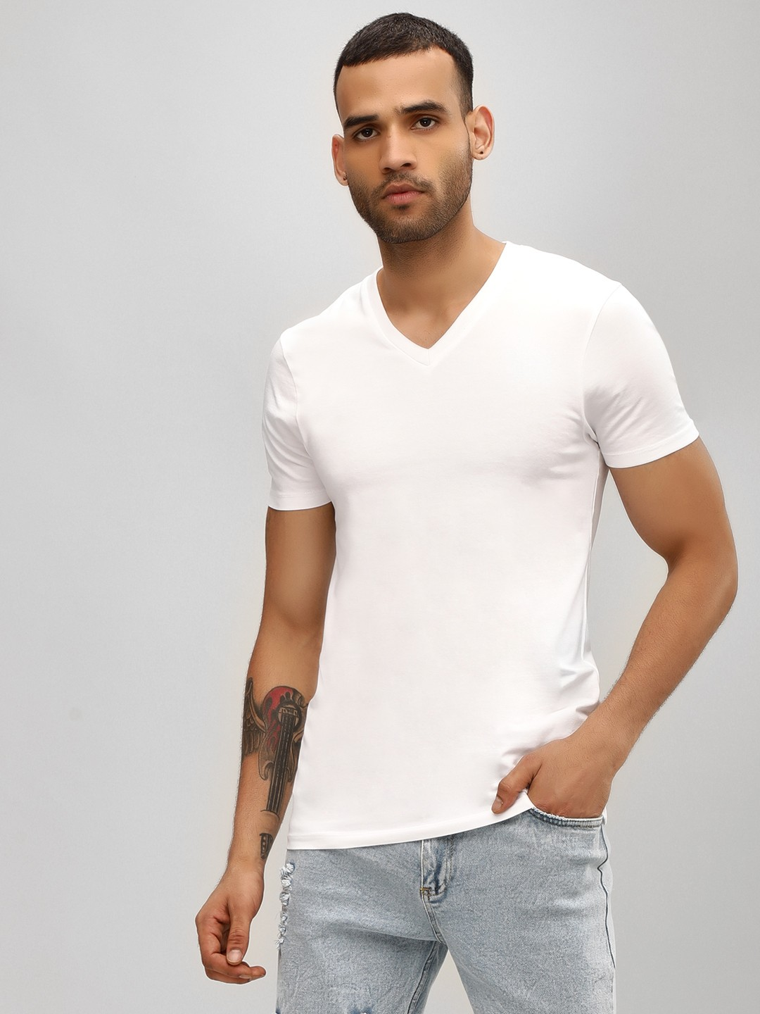 KOOVS White V-Neck Muscle Fit T-Shirt 1
