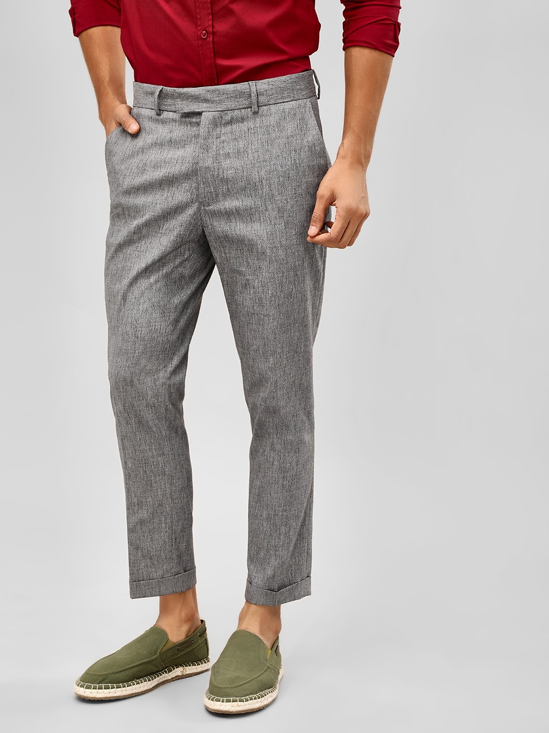 New Look Grey Slim Cropped Trousers 1