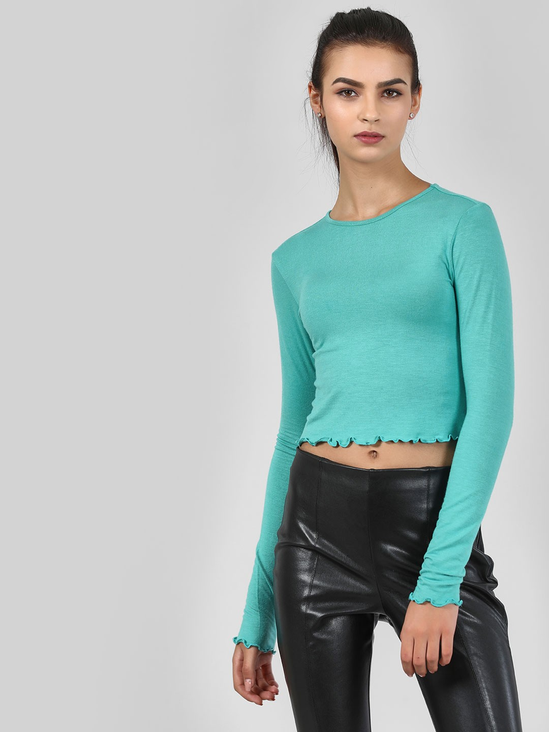 KOOVS Teal Round Neck Crop Top 1