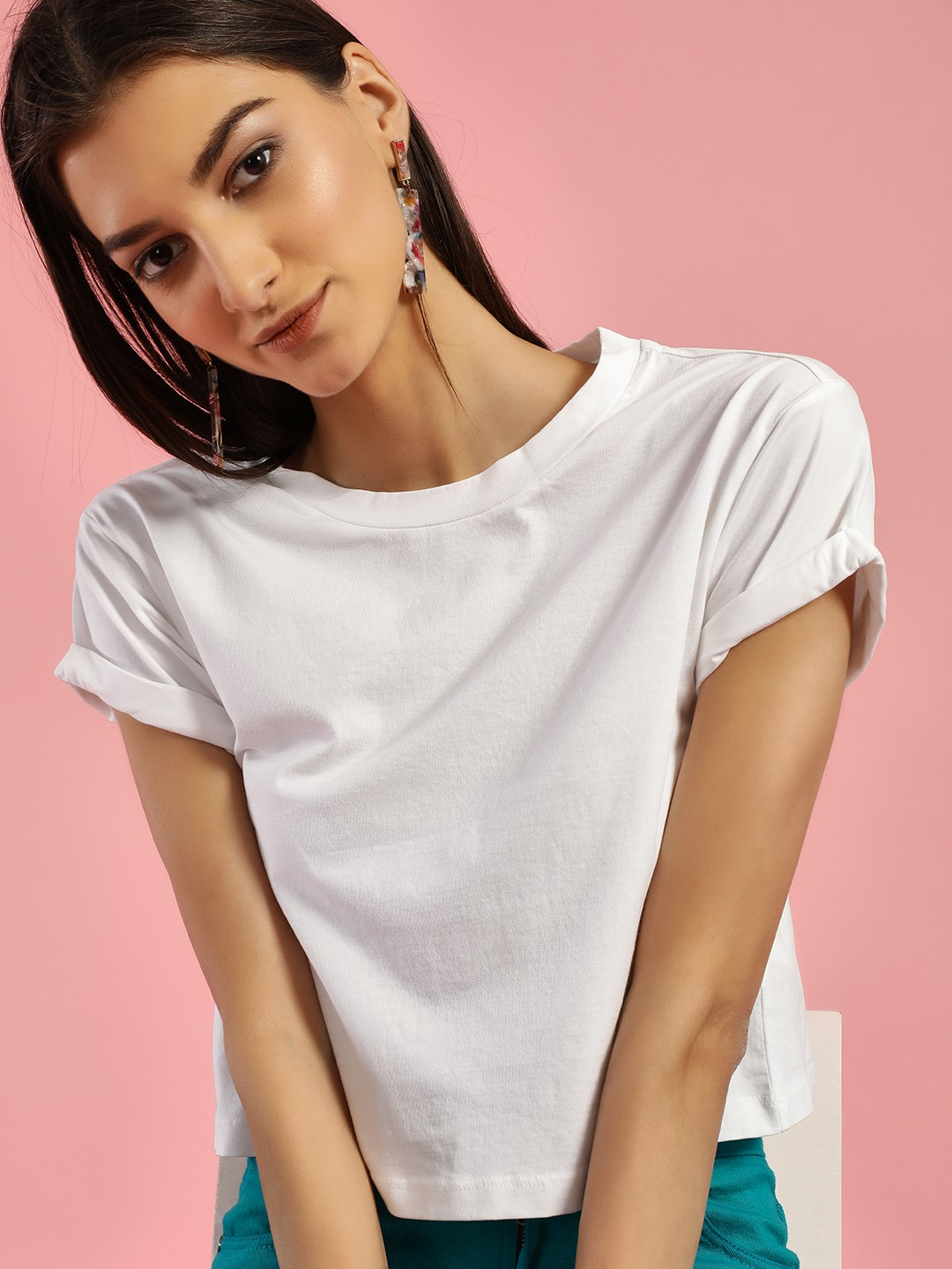 KOOVS White Short Sleeve Crop T-Shirt 1
