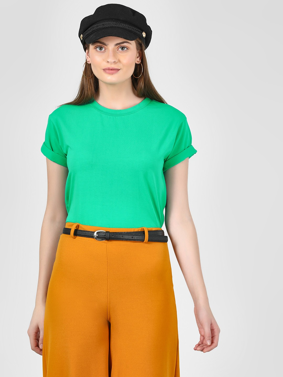 KOOVS Green Basic Round Neck T-Shirt 1
