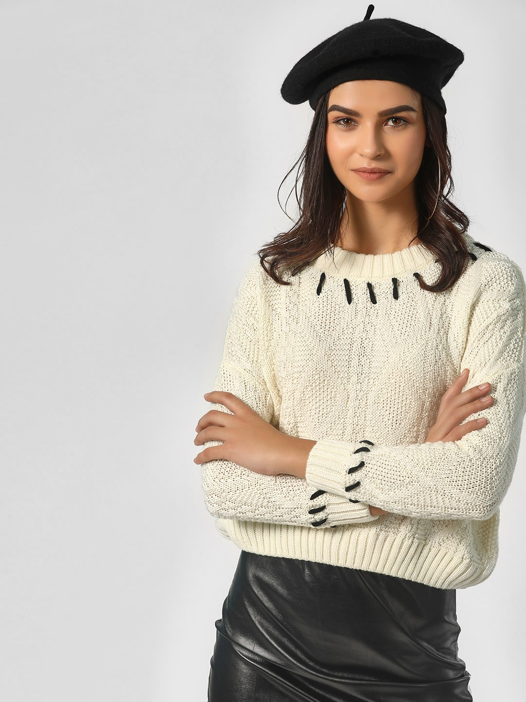 KOOVS Ivory Ivory Texture Knitted Pullover 1