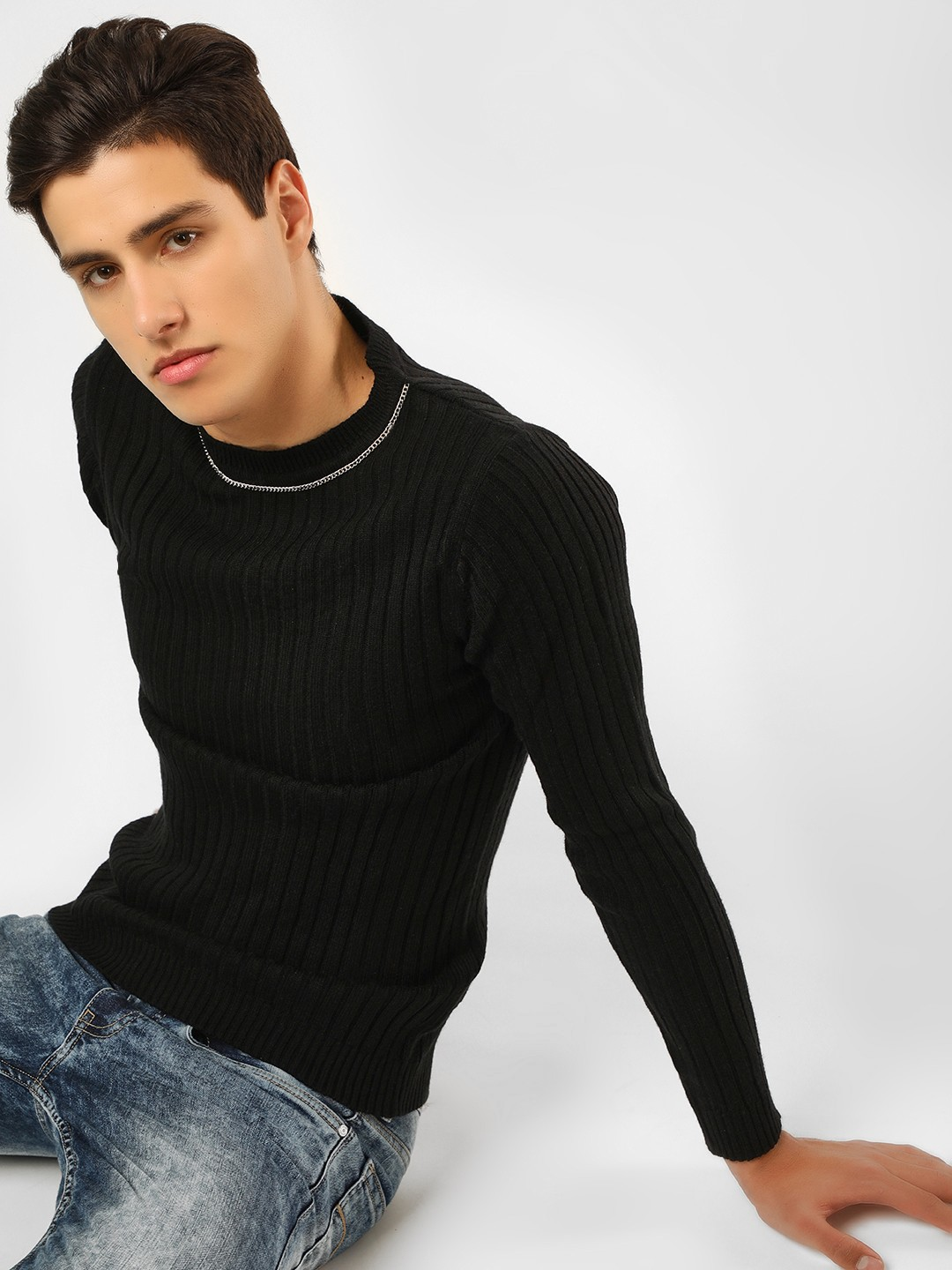 KOOVS Black Chain Detail Ribbed Jumper 1