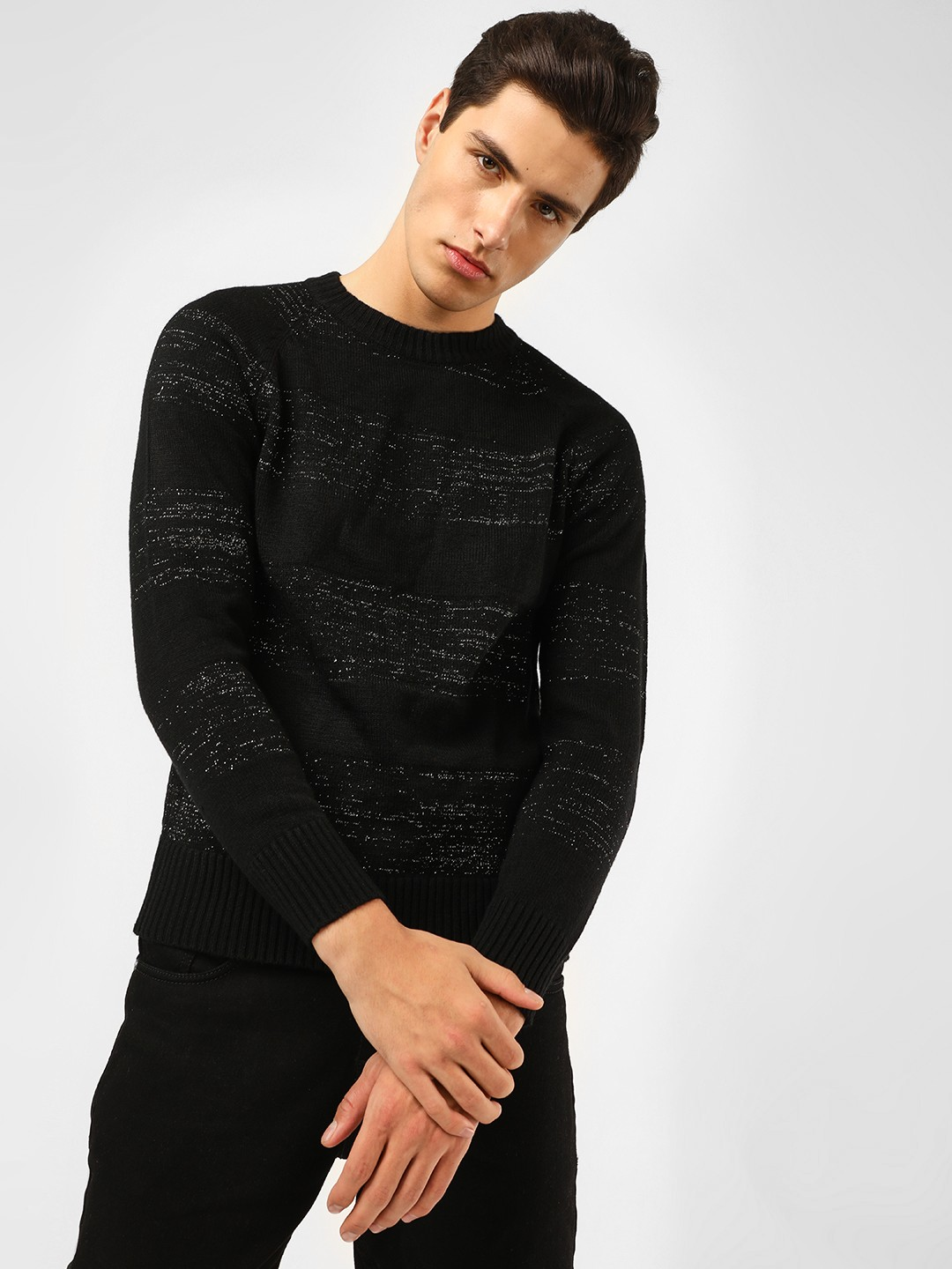 KOOVS Black Lurex Long Sleeve Jumper 1