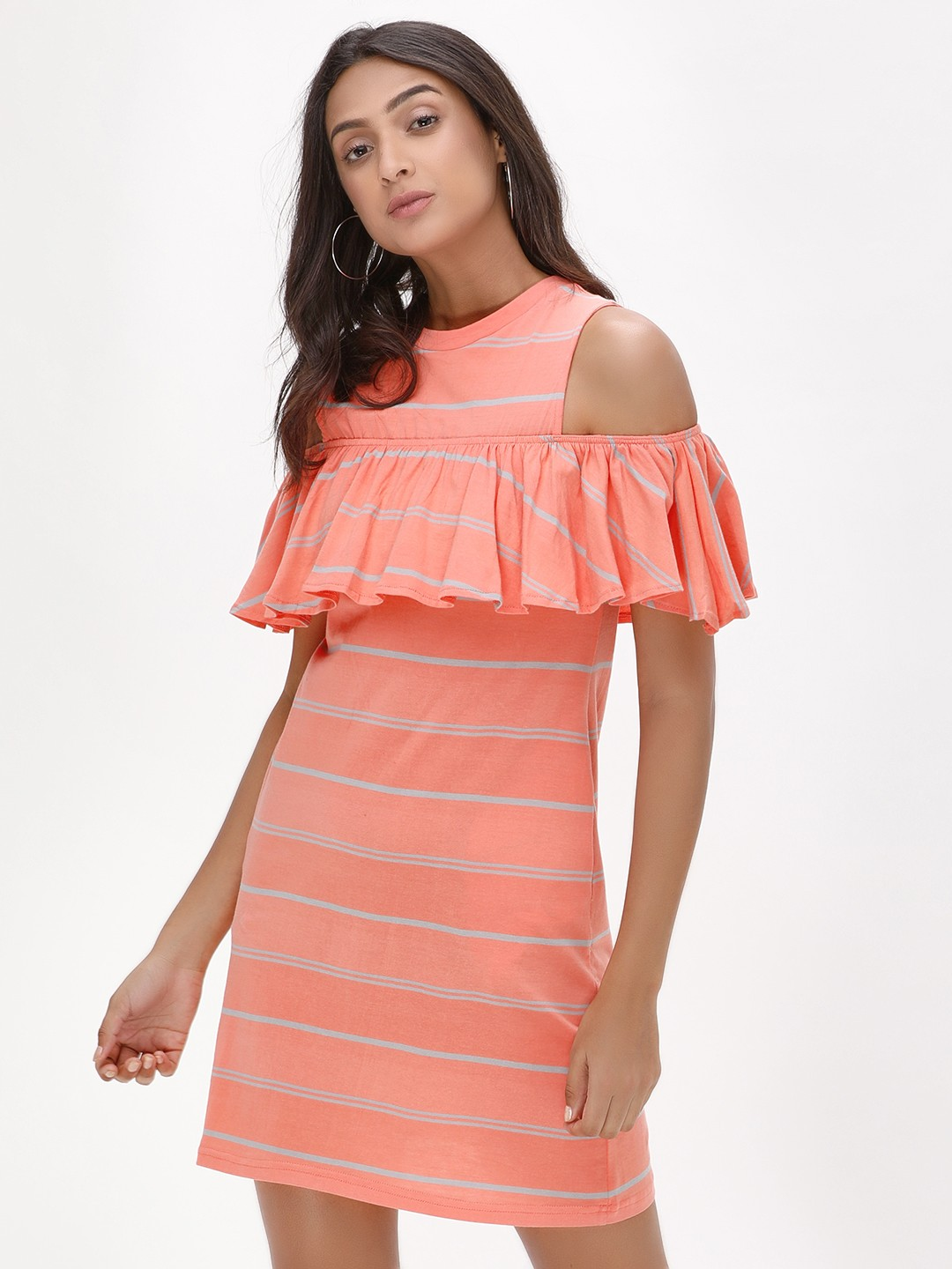 Spring Break Pink Striped Cold Shoulder Dress 1
