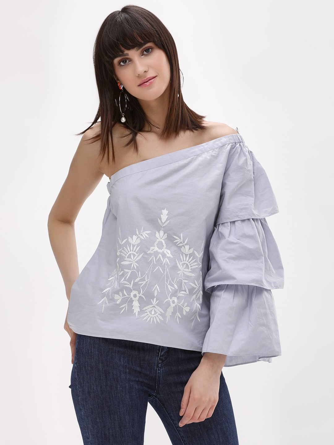 Noble Faith Blue One Shoulder Top With Embroidery 1