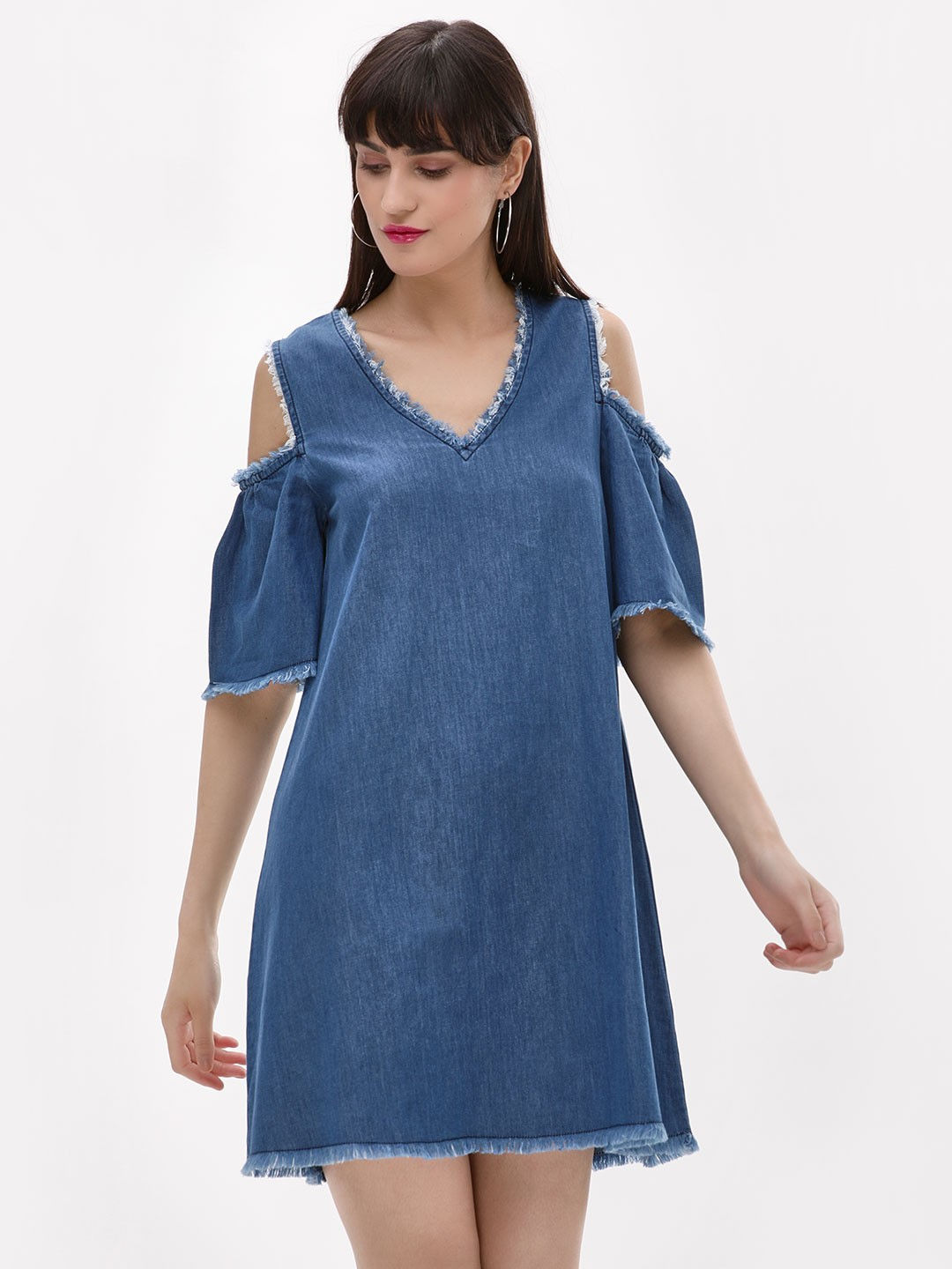 Noble Faith Blue Cold Shoulder Denim Dress 1
