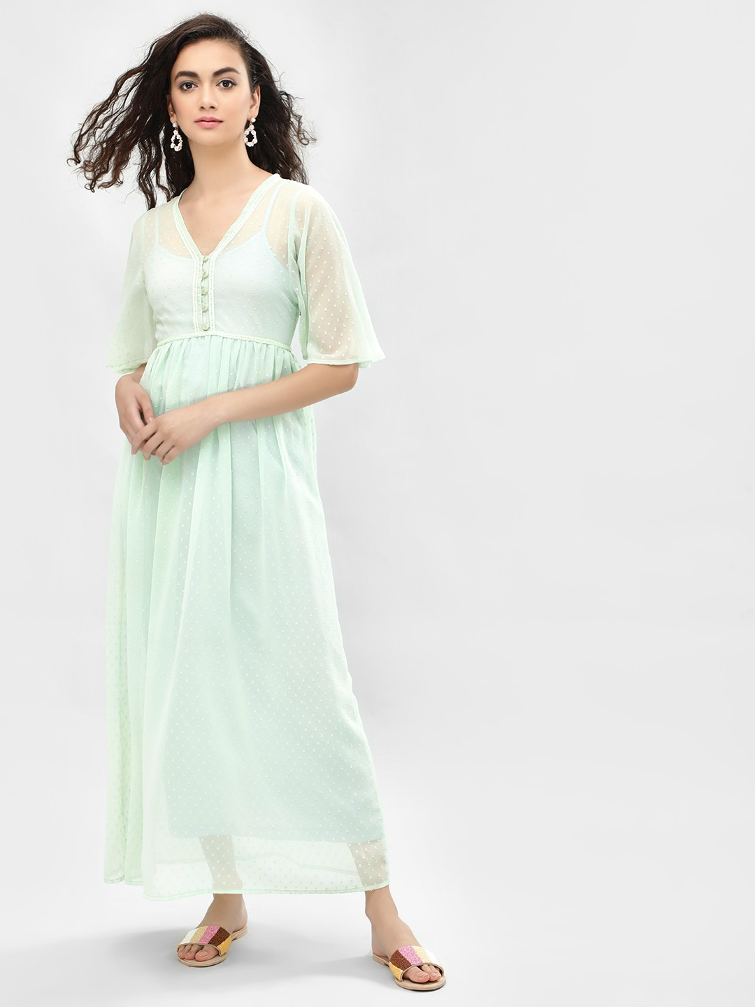KOOVS Green Flared Sleeve Maxi Dress 1