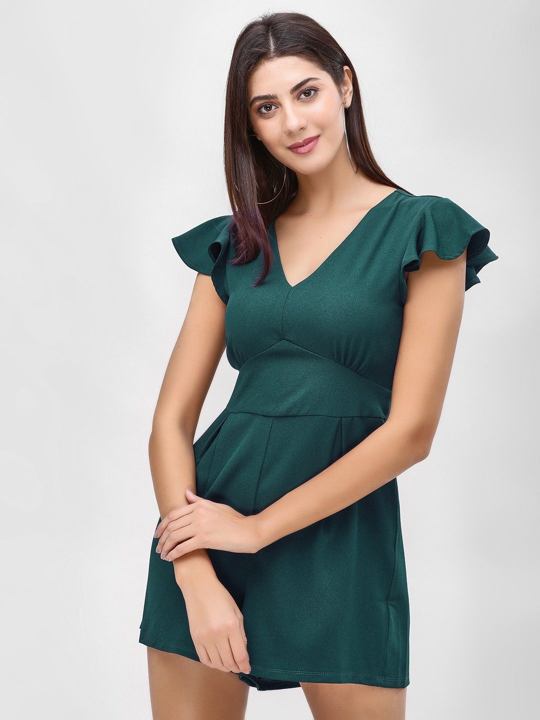 KOOVS Green Cut Out Back Playsuit 1
