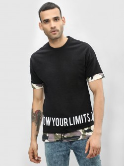 KOOVS Camo Panel Slogan T-Shirt