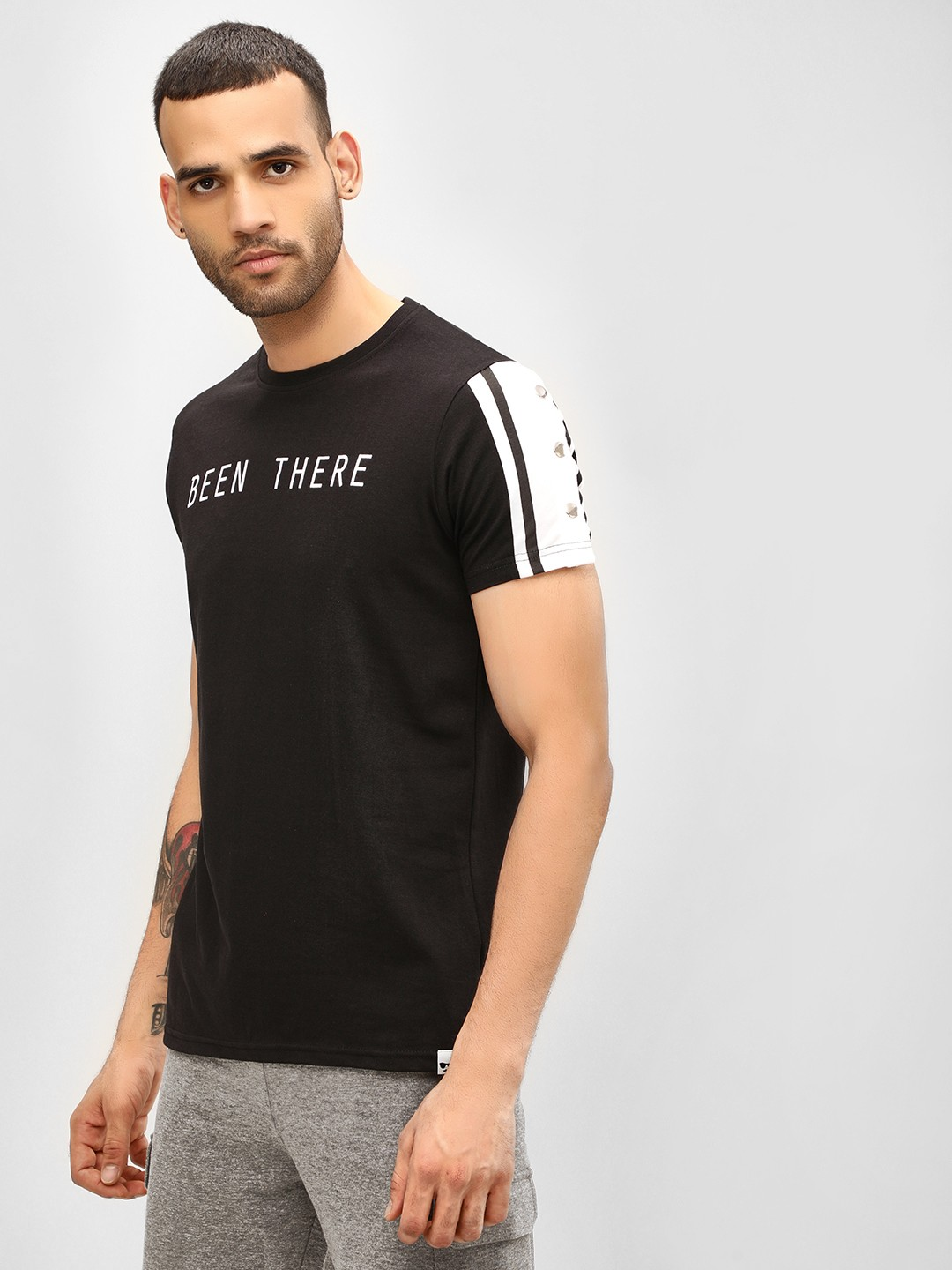 Garcon Black Slogan T-Shirt With Buttoned Sleeves 1
