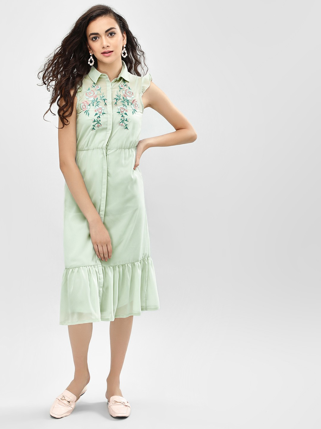 KOOVS Green Floral Embroidered Shirt Dress 1