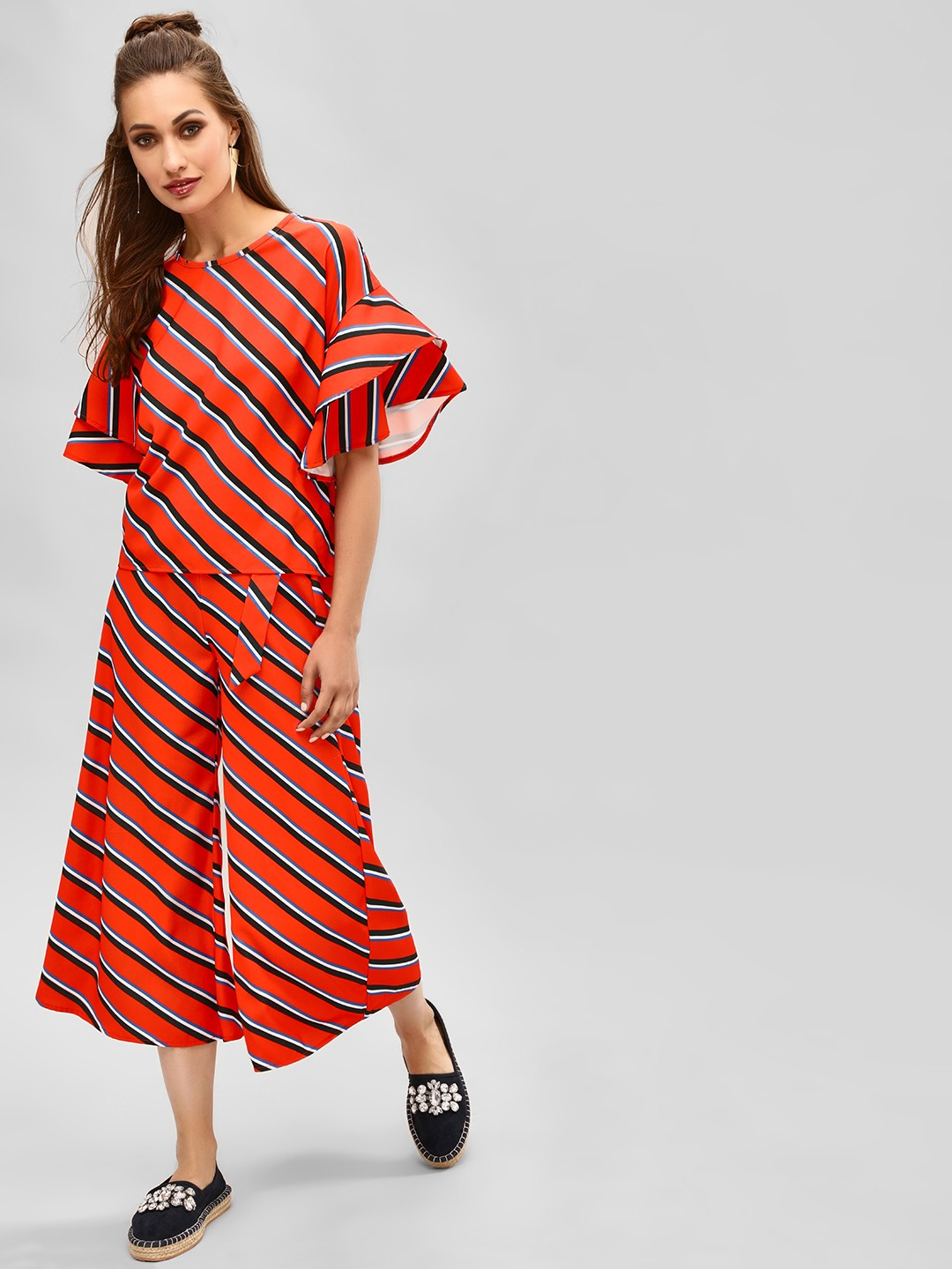 KOOVS Multi Striped Belted Flared Culottes 1